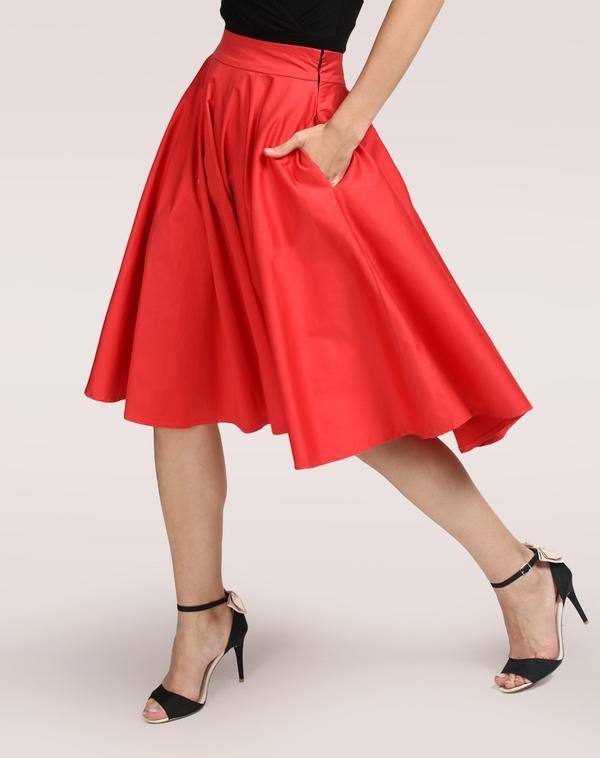 0e22cde00fa Buy Red Avril Flared Skirt Online in India at cooliyo   coolest ...