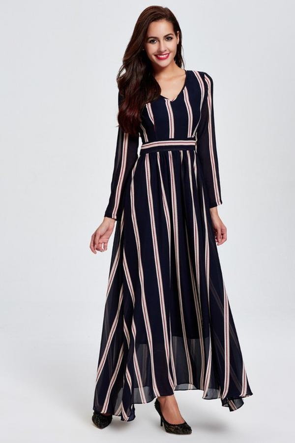 40497579455 Buy Blue   White Striped Maxi Dress Online in India at cooliyo ...
