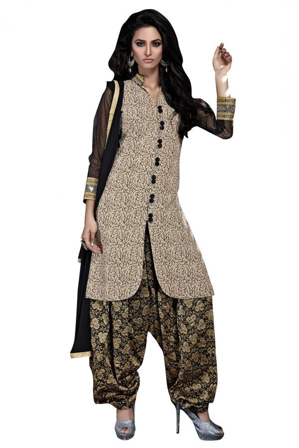 91b655238d Buy Bhagalpuri Party Wear Patiala Salwar Kameez in Beige Colour ...
