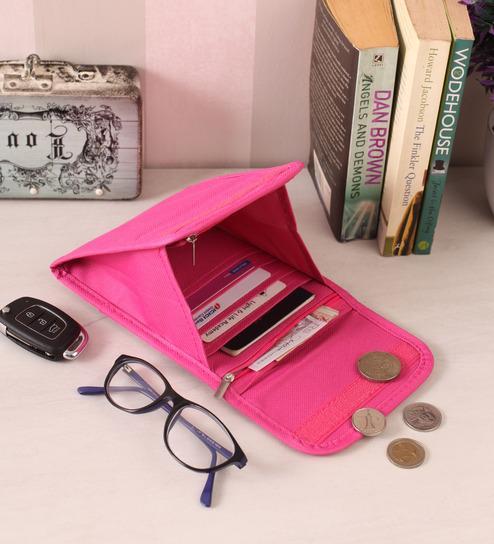 c601e4b4dff Buy Pink Fabric 7.5 x 6 x 1 Inch Sling Travel Passport Organizer ...
