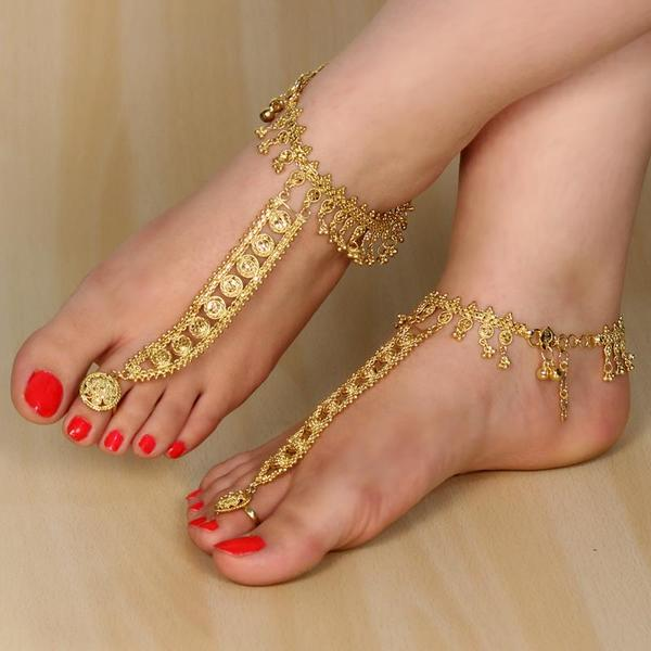 Buy Gold Plated Payal Anklet Copper With Ring line in India at