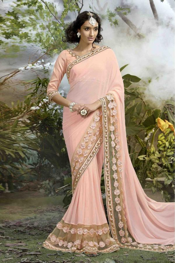 24b14c87544552 Buy Lycra And Net Saree In Baby Pink Colour Online in India at ...