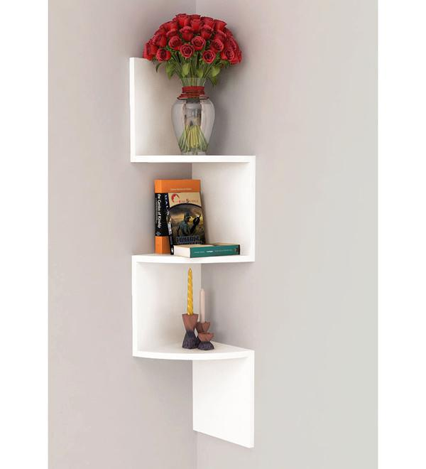 buy home sparkle white wooden wall hanging corner rack online in rh cooliyo com wooden wall hanging temple wooden wall hanging coat rack