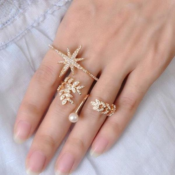 1b5be2e4f Golden Star & Floral Design with studded stone rings - Set of 2 Rings Image