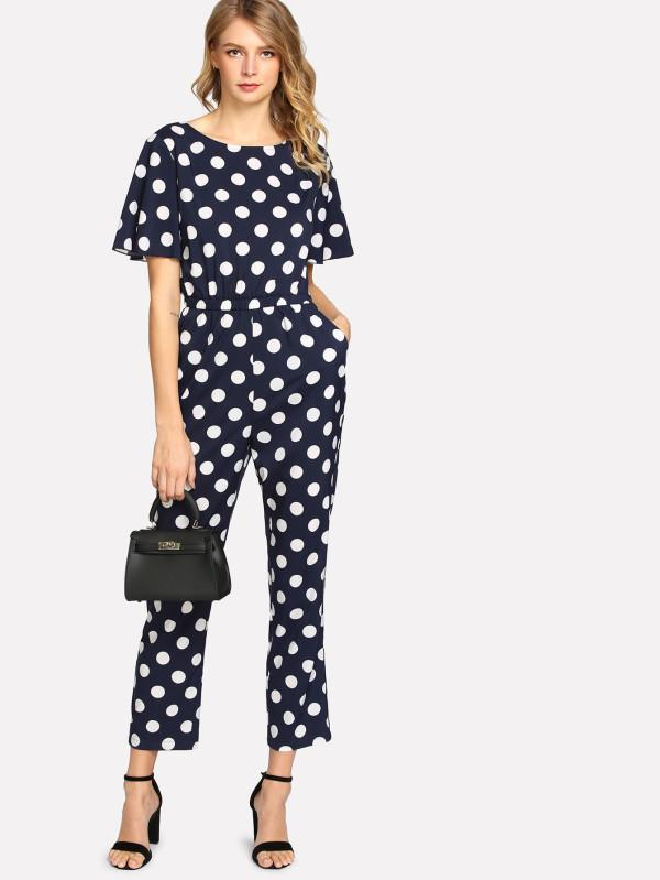 da54d0d3da5 Buy Allover Polka Dot Elastic Waist Jumpsuit Online in India at ...