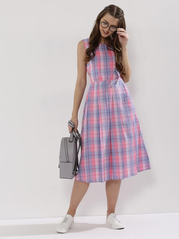 Buy Sbuys Check Midi Dress Online in India at cooliyo   coolest ... 28b45c7cf7c2