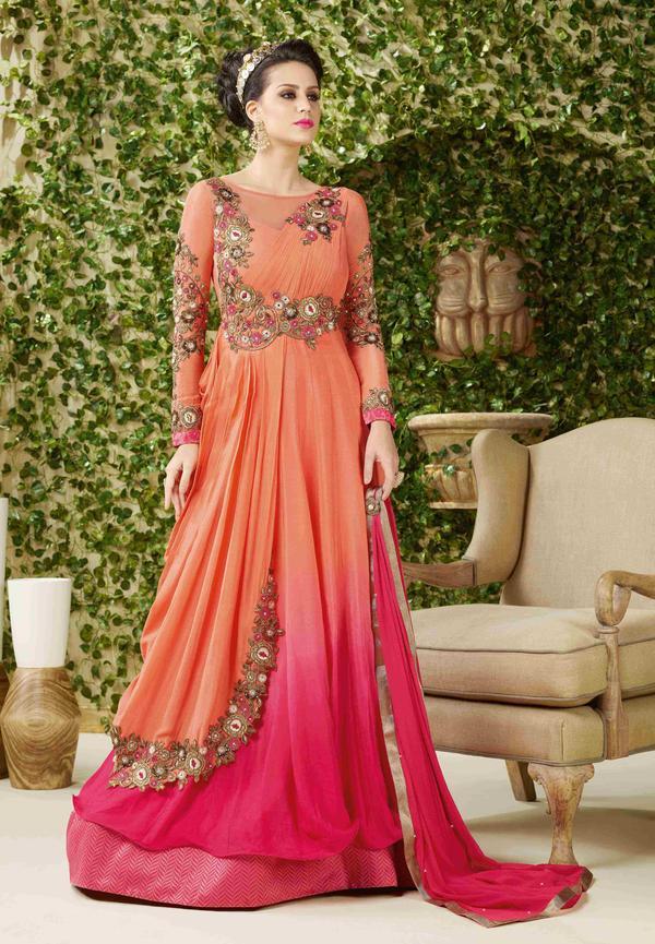6d7369e4246 Buy Orange   Pink Heavy Work Anarkali Dress Online in India at ...
