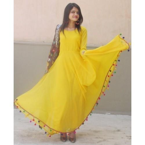 ab78bb41b2 Buy Satin Yellow Plain Semi Stitched Anarkali Suit Online in India ...