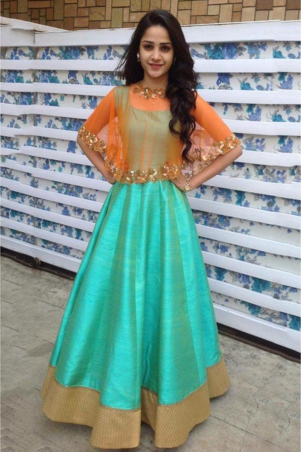 407b7f45d4 Buy Raw Silk Gown In Orange And Sea Green Colour Online in India at ...