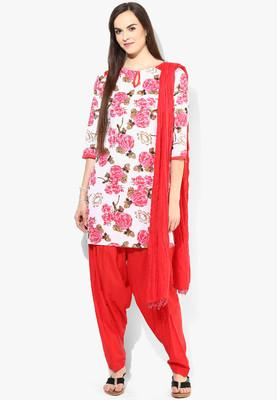 2adc76f5c5 Buy Cotton White Kurti With Red Patiala Salwar And Duptta Online in ...