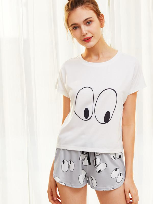 33c14cee4e6 Buy SHEIN Cartoon Eye Print Tee And Shorts Pajama Set Online in ...