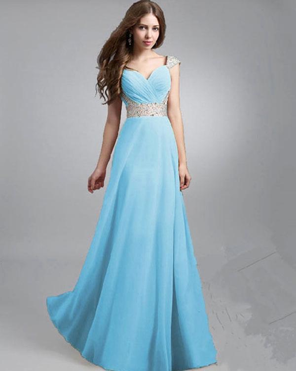 e3f4ca6ec Buy Sky Blue V-Neck Solid Floor Length Maxi Dress Online in India at ...