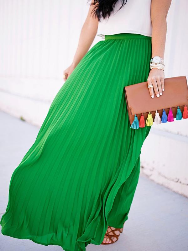 290c21e334 Buy Green High Waist Pleated Maxi Skirt Online in India at cooliyo ...