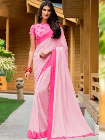 be0239e38 Buy Elegance Light Pink Saree with Embroidered Blouse Online in ...