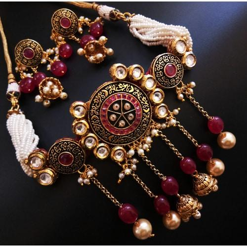 4e67d23e0d Traditional Maroon & White Stone Choker Necklace For Women Jewellery Image