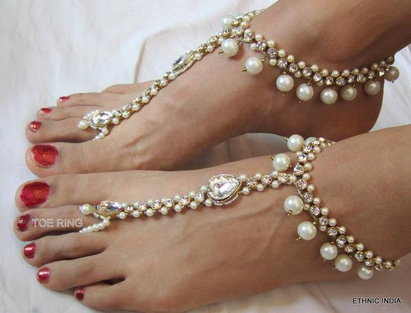 Buy Pearl gold tone beautiful crystal anklets payal pair with