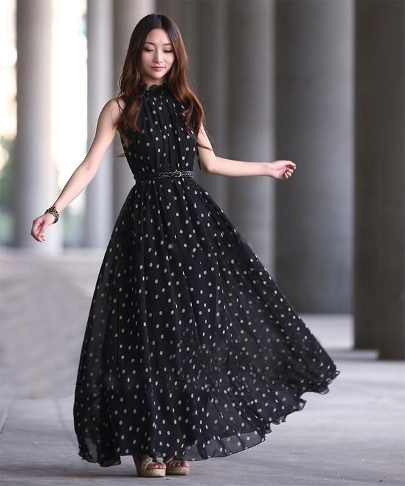 2b4791c6d0 Buy Elegant Chiffon Dot Vest Maxi Full Long Dress Online in India at ...