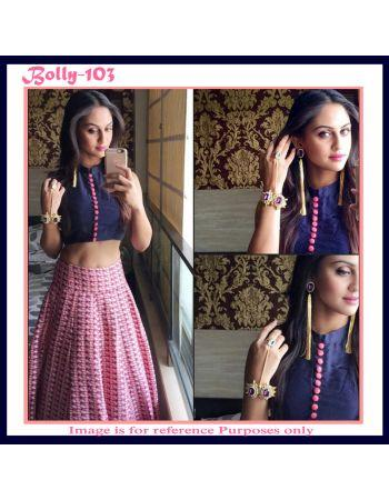 91bb2564b4e Blue and pink combination crop top with printed skirt Image