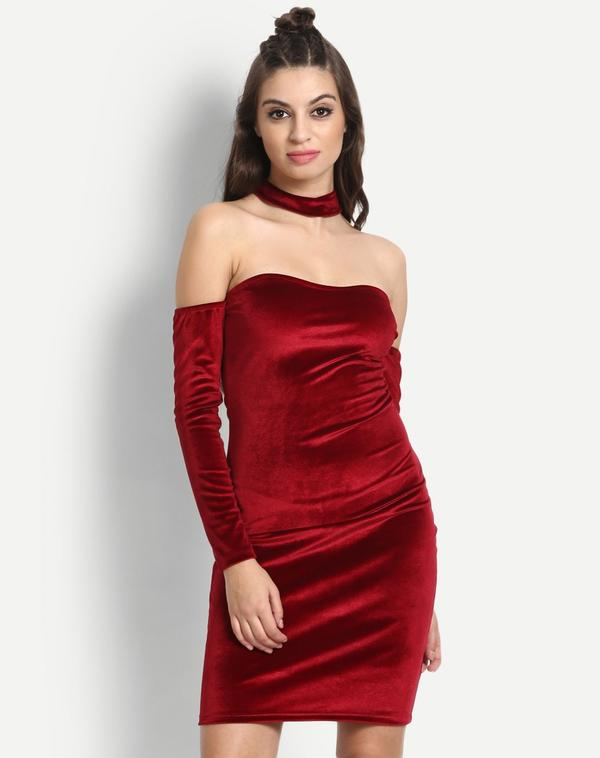 ecbb78ee2a Buy Red Off Shoulder BodyCon Dress Online in India at cooliyo ...