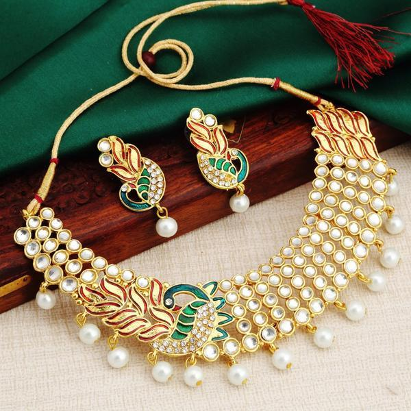 2fa31c99068 Buy Gold Plated Ad White Pearl Choker Necklace Set For Women Online ...