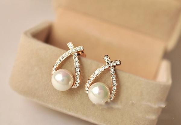 7d26e57d37e Buy Pearl Crystal Gold Plated Stud Earrings (Gold) Online in India ...