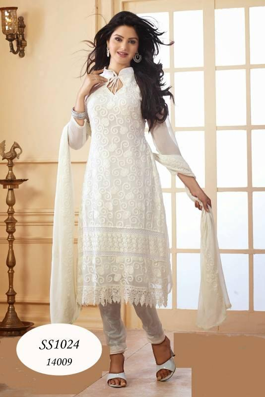 White Designer Anarkali Suits Salwar Kameez