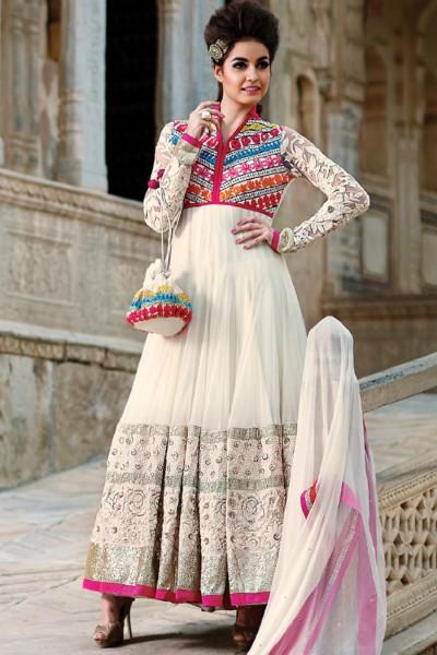 a2000498e3a9 Buy Dreamy white and pink anarkali dress material Online in India at ...
