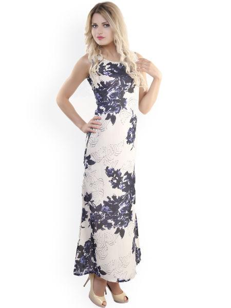 4042aa9c1f1 Buy Belle Fille Cream-Coloured   Blue Polyester Georgette Maxi Dress ...