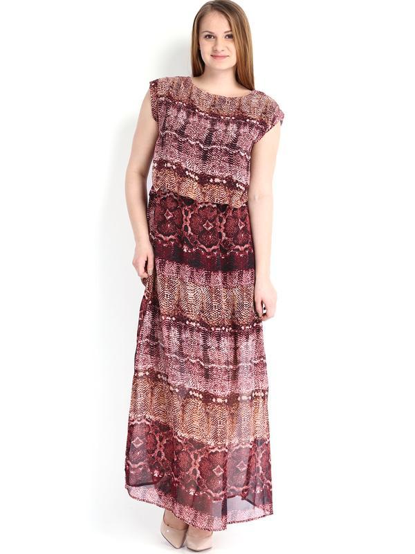 96c975efae6f Buy Tokyo Talkies Maroon Printed Maxi Dress Online in India at ...