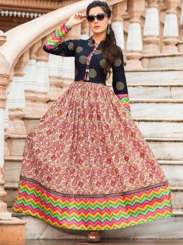 1368a50a612 Buy Mumtaz Multicolor Long Cotton Printed Kurti Online in India at ...