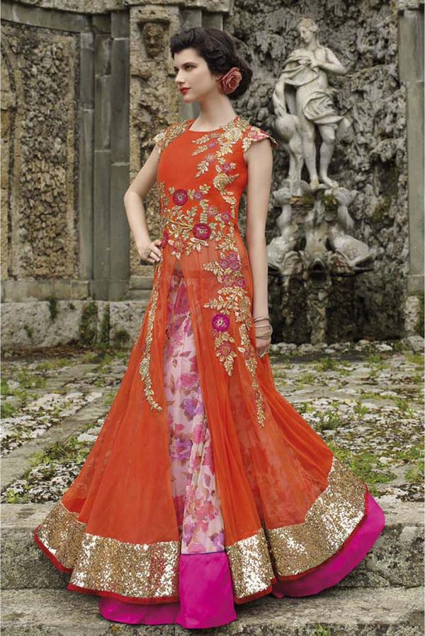 7ee7125c8fa Buy Net Semi Stitched Designer Gown In Orange Colour Online in India ...