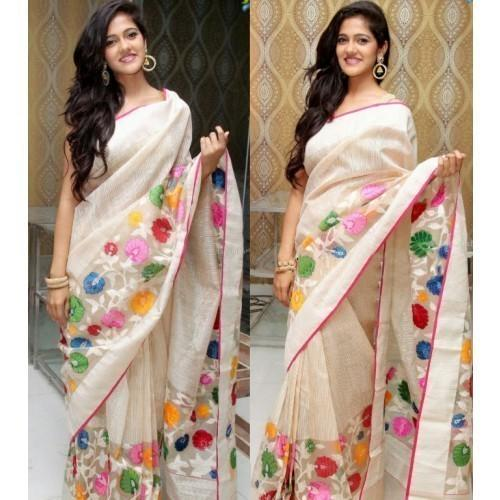 Buy Ma Creation Chanderi Silk Off White Embroidered Saree Online In