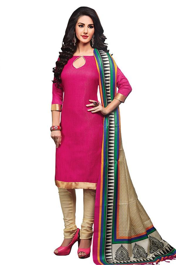b9f1d80a04 Buy Jute Silk Unstitched Churidar Salwar Kameez In Pink Colour ...