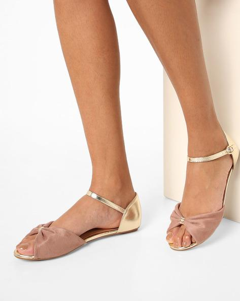 6e12be32f41d Buy Peep-Toe Flat Sandals with Ankle-Strap Online in India at ...