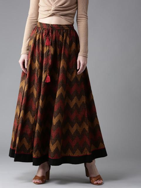 50512f95aeb Buy Moda Rapido Mustard Brown   Maroon Printed Maxi Flared Skirt ...