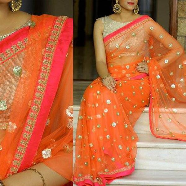 120d5861ed Buy Nylon & Net Orange Sequins Designer Saree Online in India at ...