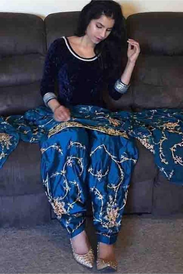 f701cd0b14 Buy Velvet Patiala Suit In Blue Colour Online in India at cooliyo ...