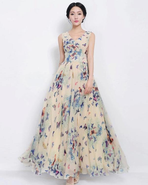 4553f0856c3e Buy V-Neck Printed Chiffon Ankle-Length Apricot Maxi Dress Online in ...