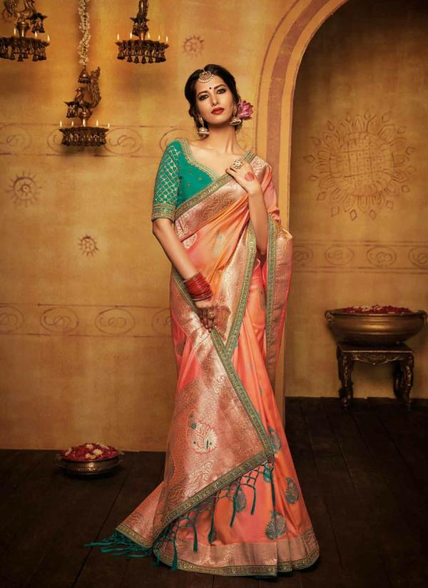8d09596f6 Buy Peach and seagreen heavy art silk saree Online in India at ...