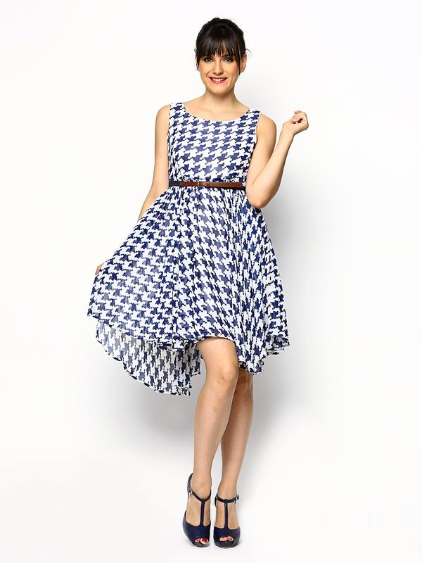 63fda14c064 Buy Tokyo Talkies White   Navy Printed Fit   Flare Dress Online in ...
