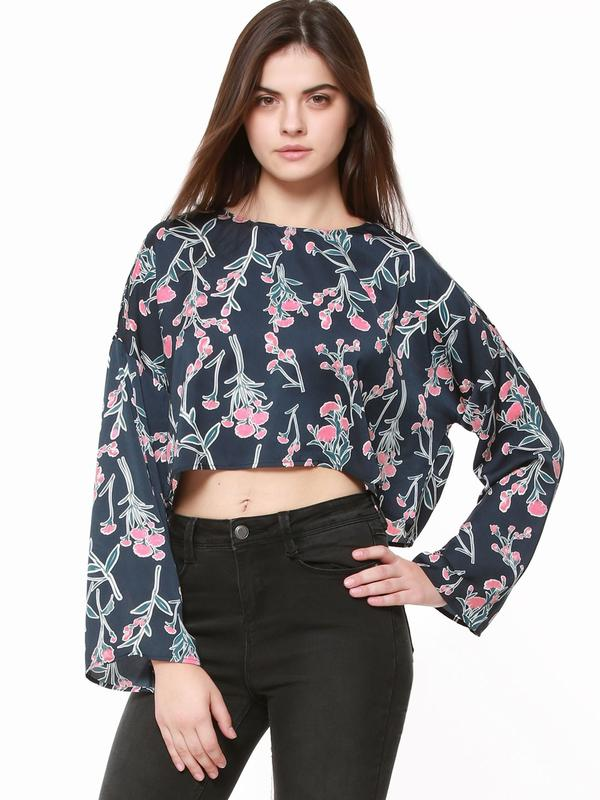 6fe71e5abcff Buy Floral Print Long Sleeve Crop Top Online in India at cooliyo ...