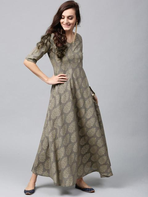 d11e6578f0 Buy AKS Women Grey & Golden Printed Maxi Dress Online in India at ...