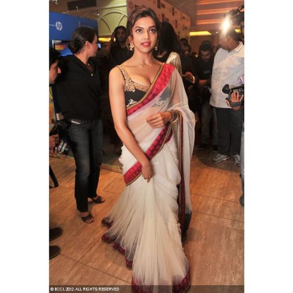 Buy Deepika Padukone White With Red Border Bollywood Replica Saree ...