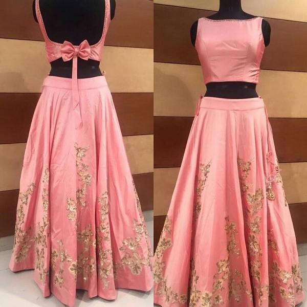 buy poly silk machine work pink semi stitched lehenga online in