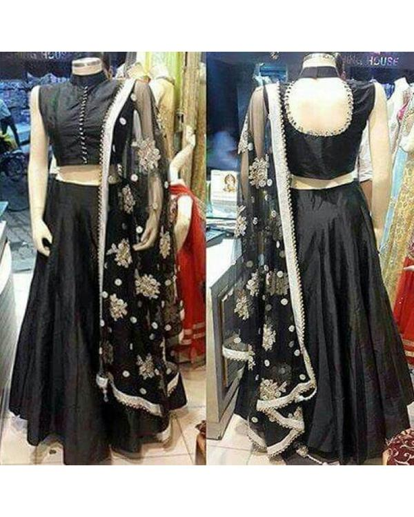 3aea4f553 Buy Poly Silk Plain Black Semi Stitched Lehenga Online in India at ...