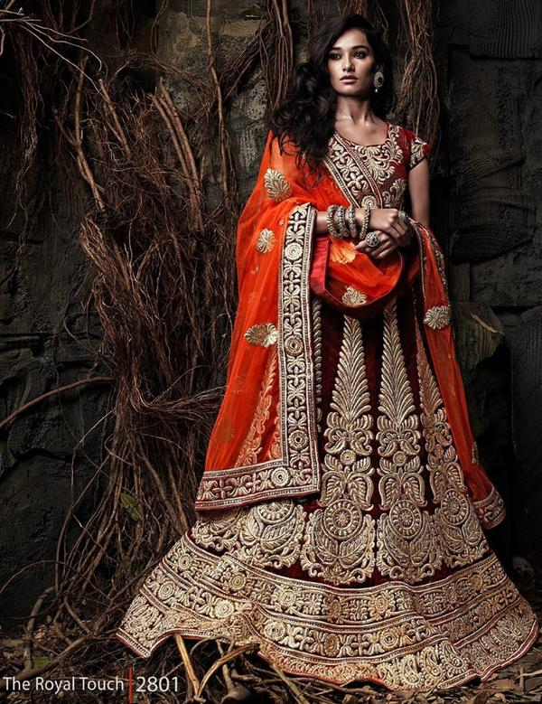 d44254564f5 Buy Bridal Red Zari lehenga Online in India at cooliyo   coolest ...