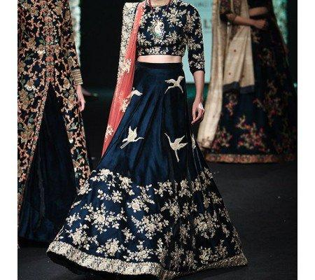 cdd55c601d Art silk Embroidered Unstitched Lehenga Choli Material (Dark blue, Golden,  Orange) Image