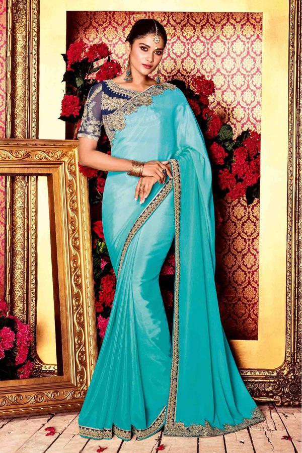 23aeb99ff8adbb Buy Satin Silk Saree In Sky Blue Colour Online in India at cooliyo ...