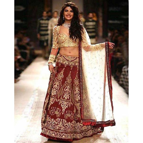 28bcc46649b Buy Dark Red Embroidered Silk Lehenga Online in India at cooliyo ...
