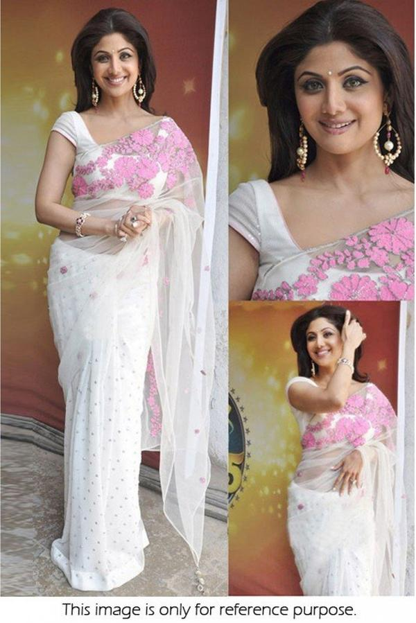 a359c4e6f4 Buy Bollywood Style Shilpa Shetty Net Saree In White and Pink Colour ...